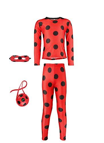 Seawhisper Lady Bug Kostüm Kinder Kleinkind Kostüm Ladybug Kostüme Mädchen Marienkäfer Kostüm Tshirt Hose mit Augenmaske Tasche Halloween Faschings-kostüme 104 110