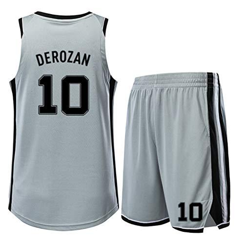SHR-GCHAO Set Basketball-Trikots, Spurs 10# DeRozan Jersey, Basketball-Anzug für Kinder/Erwachsene, Breathable Ineinander greifen-Weste-Spitze Shorts, Geschenk für Fans,XXL