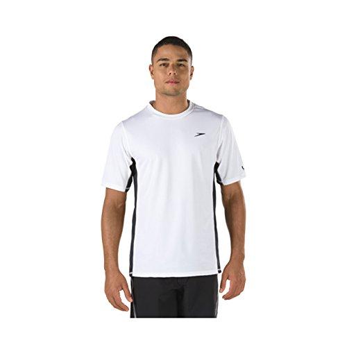 Speedo Men's Uv Swim Shirt Short Sleeve Longview Tee, White, X-Large