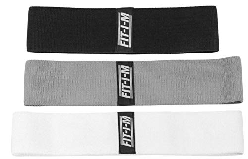 FIT-I-M Fabric Exercise Resistance Bands for Legs, Butt, Hip, Glute Workout. Hip Band Set of 3 for Booty Strength and Stretching