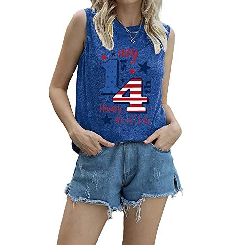 """Mayntop Camiseta de manga corta para mujer con diseño de bandera de Estados Unidos con texto en inglés """"God Bless"""" para el 4 de julio, B-azul, 36"""