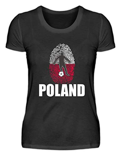 Desconocido Camiseta de Mujer Camiseta de la Copa del Mundo de Polonia de Rusia 2018 para Fans de Polonia, diseño Nacional Negro XL