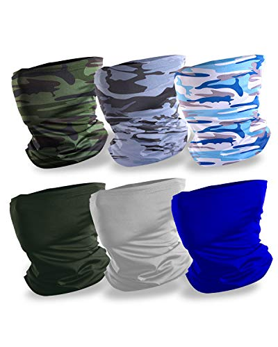 SUPREAKER 6 Pack Camo Cooling Neck Gaiters for Men Summer, Silk Bandana UV Protection for Motorcycle Hiking, Head Scarf face mask Cover Outdoor Windproof