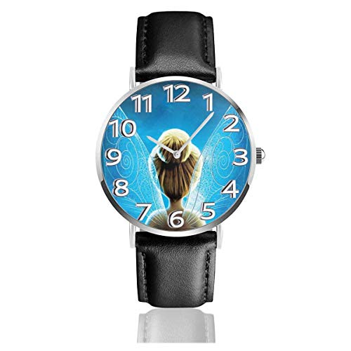 Flying Fairy Reloj Unisex de Cuarzo analógico de fácil Lectura de 38 mm con Correa de Cuero