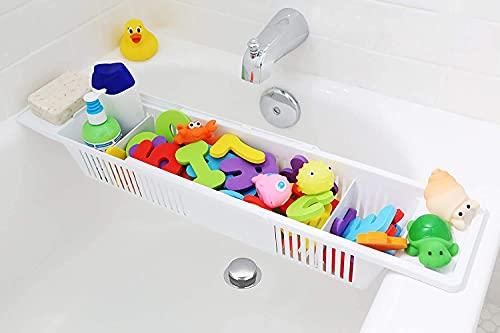 Bath Toy Organizer Storage Basket, Retractable Bathtub Storage Rack, Play Toys, Bathroom toiletries Storage Basket ,Suitable for Home Bathrooms, Book Stand Candle Holder