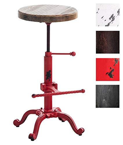 CLP Taburete Industrial Carson con Asiento De Madera I Taburete Vintage Regulable En Altura I Silla Alta con Estructura De Metal I Color: Rojo