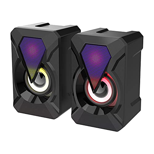 prasku Altavoces para Computadora, 3Wx2 Stereo 2.0 Altavoces Multimedia Auxiliares de 3,5 Mm Alimentados por USB, Control de Volumen con Cable USB Y Cable de