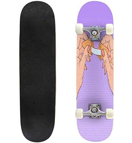 Pop Art Woman Holding Fortune Cookie with Blank Slip Vector Skateboard 31'x8' Double-Warped Skateboards Outdoor Street Sports Skateboard for Beginners Professionals Cool Adult Teen Gifts
