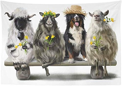 Inontime Tapisserie Wandbehang Berner Sennenhund Shepherd and His Three Sheep 708 Printed Tapestry Wall Hanging Boho Mandala Hippie Tapestry Wall Art Decor for Living Room Bedroom Dorm 80 * 60inch