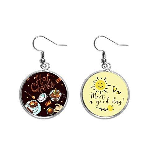 Chocolate caliente postres beber Francia oído gota sol flor pendiente joyería moda