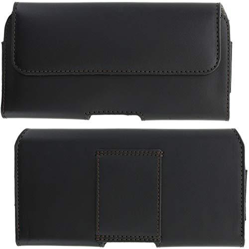 XiRRiX Leder Handy Tasche 2.4 5XL Smartphone Gürteltasche kompatibel mit Samsung Galaxy M51 M11 A42 A71 A72 / S20 Plus / S21 Ultra / Motorola Moto G8 / Nokia 2.4 5.4 - Gürtel Handytasche schwarz