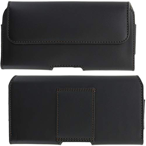 XiRRiX Echt Leder Handy Tasche 2.4 5XL Smartphone Gürteltasche passend für Samsung Galaxy A21s A70 A71 A80 A90 / Note 8 9 10 Plus/Motorola Edge/One Fusion Plus - Gürtel Handytasche schwarz