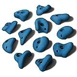 ALPIDEX 12 L Klettergriffe im Set Henkelgriffe für Kinder, können als Henkel und teilweise als Zangen gegriffen Werden, verwendbar auch als Tritte, Farbe:Balance Blue