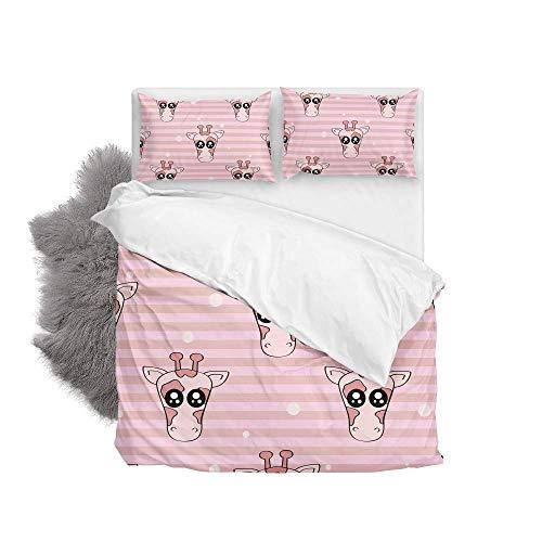 Pink Giraffe Head Soft Quilt Bedding Set Duvet Cover with Pillowcases 2 Pieces Set 135 x 200 CM,Single Size