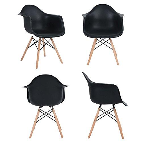 EGGREE Lot von 4 Esszimmerstuhl, Retro Stuhl Beistelltisch mit solide Buchenholz Bein - Schwarz