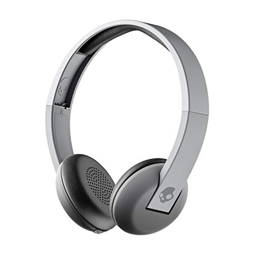 Skullcandy Uproar Bluetooth Wireless On-Ear Headphones with Built-In Microphone and Remote, 10-Hour Rechargeable Battery, Soft Synthetic Leather Ear Pillows for Comfort, Gray Fade (Renewed)