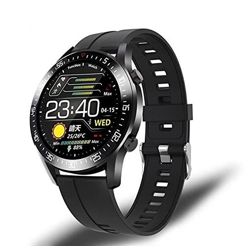 Reloj inteligente 2021 para hombre, frecuencia cardíaca, presión arterial, recordatorio de información para deportes, resistente al agua, reloj inteligente Android IOS Teléfono (color: silicona negra)