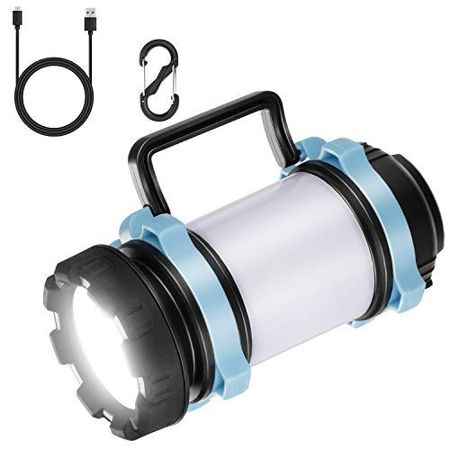 EXTSUD Lampe de Camping LED Multifonctionnelle Portable 3 en 1 Lanterne Camping Rechargeable Lampe Torche LED 4400mAh Banque de puissance rechargeable pour la pêche de nuit, Chasse, Randonnée