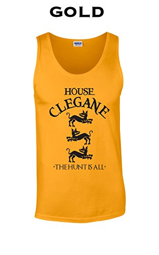 Swaffy Tees 12 House Clegane Funny Adult Tank Top Gold