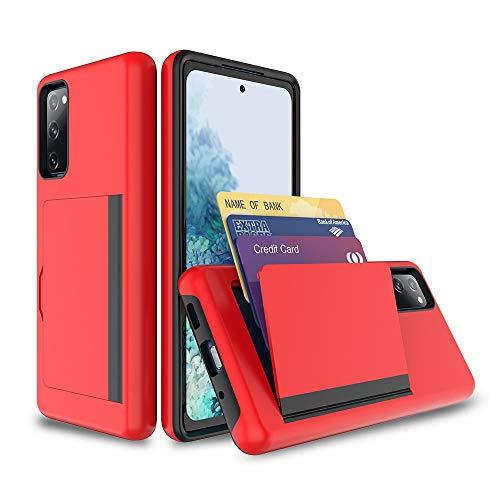 FDTCYDS Galaxy s20 FE Funda con tarjetero y carcasa protectora resistente a prueba de golpes para Samsung Galaxy s20 FE - Rojo