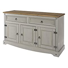 Made of solid pine wood from renewable resources. Gray wash color stain, tops in antique brown color stain. Distressed silver metal handles, hinges and studs. Real dovetail drawer joints. Corona Gray Range.