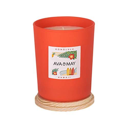 AVA & MAY Hawaii Duftkerze (180g) – Vegane Kerze im Glas mit floralen Düften von Bergamotte, Hibiskus und süßer Orange – Handgemachte Kerze mit Paradiesfeeling