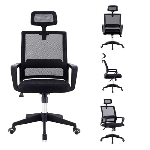 Chaise de bureau ergonomique en maille avec soutien lombaire, appuie-tête réglable, chaise pivotante pour ordinateur, dossier haut confortable (Noir-803)