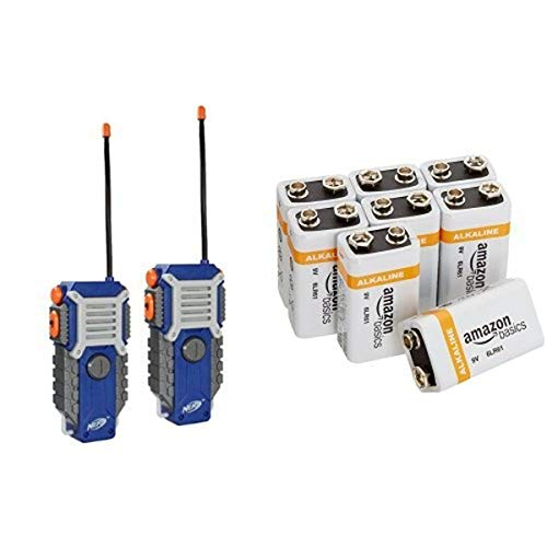 Nerf Walkie Talkies with Amazon Basics 9V Batteries Bundle