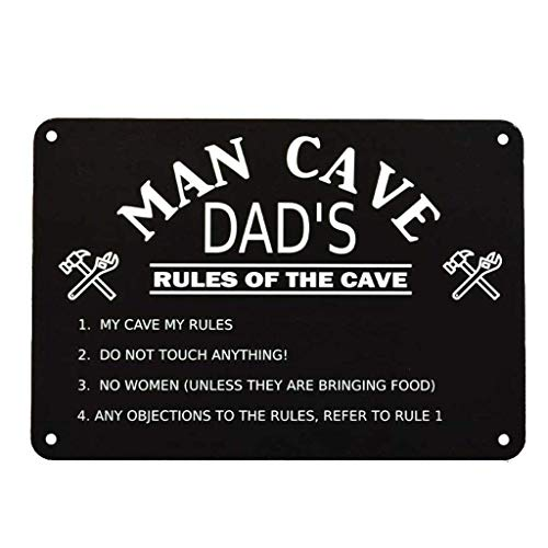 GiftsOnline4U Personalised Man Cave Sign Plaque Engraved/Birthday/Dad/Fathers Day/Black/Rules/Inside Outside/24 x 16.5 Centimetre