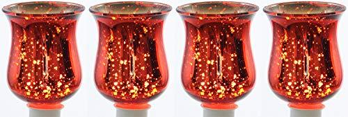 Novaliv 4X Teelichtaufsatz rot Glasaufsatz für Kerzenleuchter Kerzenständer Glas Adventskranz Teelichthalter Stabkerzenhalter Weihnachten Kerzenpick 6cm