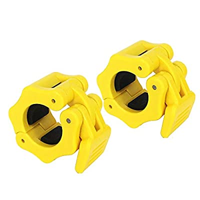 "Disens 1"" Barbell Locking Collars Clamps Standard 1Inch Diameter Barbell Clips for Bodybuilding,Weightlifting,Fitness Training (Yellow)"