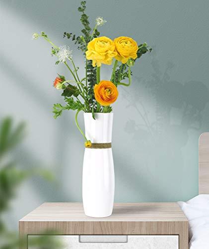 Luxspire Vaso da Fiori, Vaso di Fiori Bianco Vasi Decorativi Moderni Elegante in Resina Decorazioni Interne per Ufficio Casa Salotto Matrimonio Fasta, Altezza 25cm - Bianco