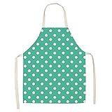 Dusenly Grembiule da cucina da donna, alla moda, a pois, impermeabile, in cotone e lino, grembiule per cuoco, cucina, griglia e cottura Verde