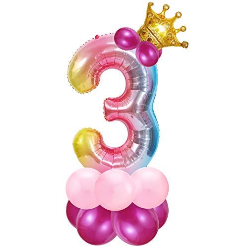 Zahlen Luftballon Rosa, Riesige Folienballon 3, Zahl Luftballon Deco 3. Geburtstag, Bunt Folienzahlen Ballons, Ballon 3 Jahre Mädchen, Helium Zahlenballon für Party, Birthday, Dekoration