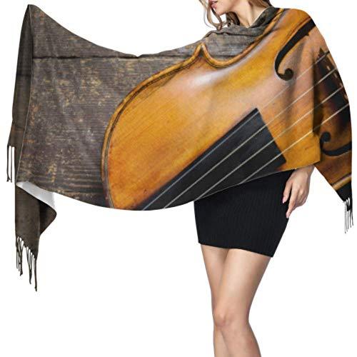Retro Instrument Borduurwerk Viool Vrouwen Sjaal Lichtgewicht Wrap Sjaal Sjaal Kasjmier Vrouwen 77