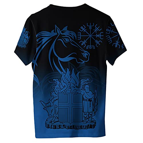 Hombres Horse Graphic Funny Tees 3D Novedad Camisetas, Summer Sport Ultra Dry Top Camisetas Helm of Awe Printed Crewneck Manga Corta,Negro,6XL