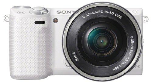 Sony NEX-5RLW Kompakte Systemkamera (16,1 Megapixel, 7,6 cm (3 Zoll) Touchscreen, Full HD, Kontrast AF, WiFi) inkl. SEL-P1650 Zoom-Objektiv weiß