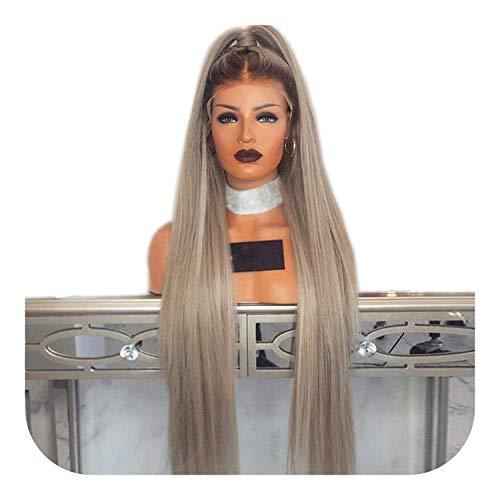 PJPPJH Perruques pour Femmes Demi de Cheveux Humains, Ombre Cendre Blonde Longue Ligne Droite synthétique Perruque Avant en Dentelle