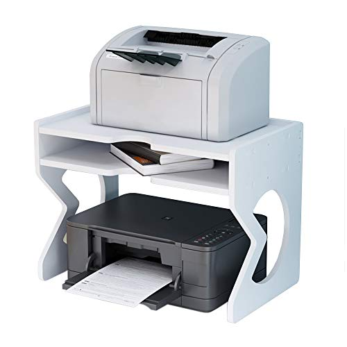 NUODWELL Drucker-Schreibtisch-Ständer, Schreibtisch-Organizer, weiß mit Aufbewahrungsbox, Bürobedarf, Druckerständer für Faxgerät, Scanner, Dateien, Bürobedarf mit verstellbaren Füßen (41,9 x 25,4 cm)