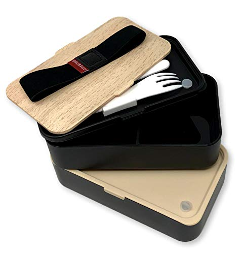 Product Image 3: THE ORIGINAL Japanese Bento Box (Upgraded 2020 Black & Bamboo Design) w/ 2 Dividers + Larger Utensils w/Holder – Leakproof Lunch Container