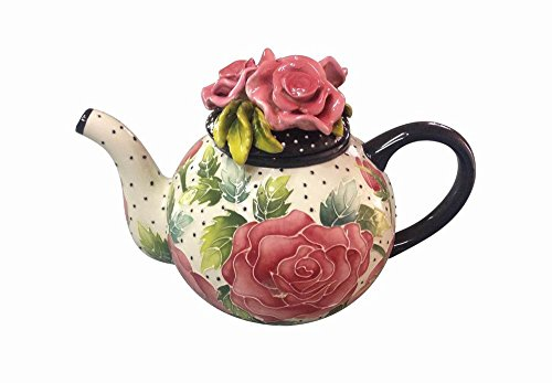 Blue Sky Ceramic 10.5'x6.5'X7' Rose Teapot