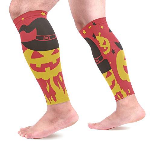 hdyefe Halloween Kürbis Auf Feuer Waden Kompression Ärmel Schienbeinschoner Beinschutz Waden Schmerzlinderung für Laufen, Radfahren,