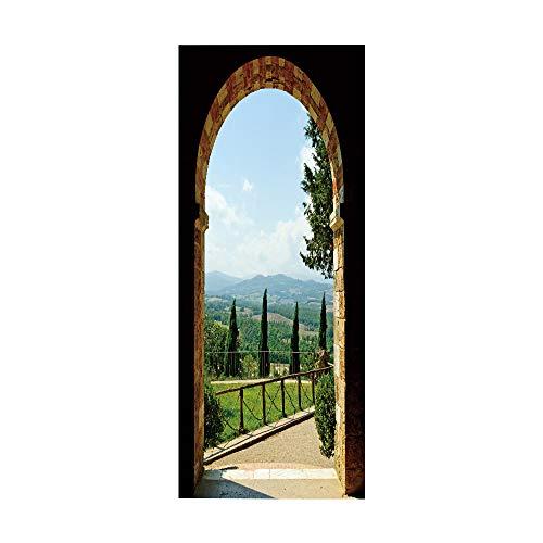 Etiqueta engomada de la puerta del arco de piedra 3D, calcomanías murales de PVC para la decoración del hogar del arte 30.3x78.7 (77x200cm)