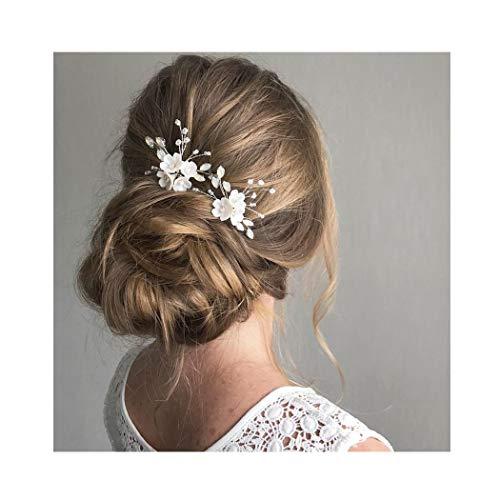IYOU Braut Hochzeit Haarnadeln Silber funkelnde Kristall Perle Haarnadel Braut Blume Haarschmuck für Frauen und Mädchen 2Stück (Silber)