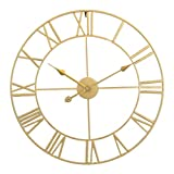 Reloj de Pared silencioso, Reloj Redondo de Esqueleto de Hierro, Adecuado para la decoración del Dormitorio de la Chimenea de la Sala de Estar de la Cocina-Dorado_60cm