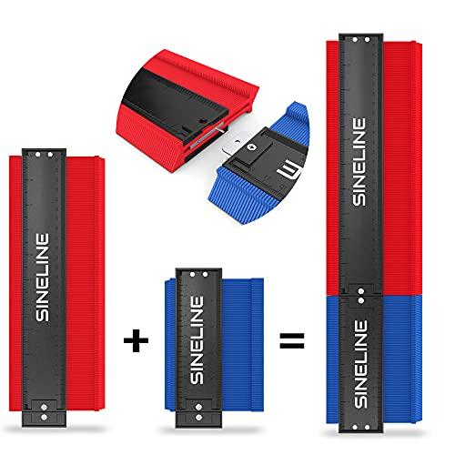 SINELINE - Konturenlehre - zum Verbinden - 13cm 26cm 39cm - für Laminat - inkl. Schutztasche - Konturenlehre groß - 3 in Einem - Konturmessgerät (Rot/Blau)
