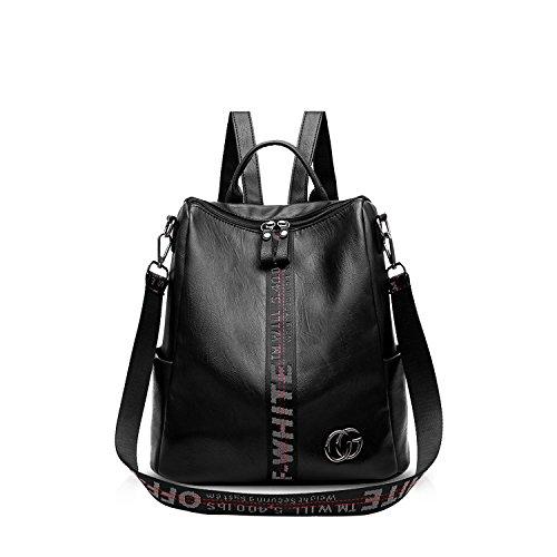 NICOLE & DORIS Damen Rucksack Frauenrucksack Modischer Umhängetasche Rucksack für Damen Fashion Handtaschen Schulrucksäcke Tasche Schwarz