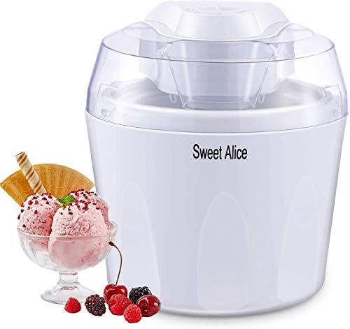 Eismaschine,Sweet Alice 1,5L Elektrische Speiseeisbereiter Zuhause Ice Cream Maker Frozen Yogurt Sorbet mit Leise Mischpaddel 30min Auto Shut Off Timer BPA frei
