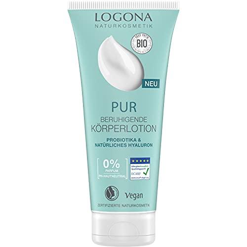 Natürliche Bodylotion mit Hyaluron & Probiotika, Beruhigt empfindliche Haut & spendet intensiv Feuchtigkeit, Naturkosmetik Körperlotion von LOGONA PUR, 100{f87bef43d0ad3a6b18e47e8d3edc60af7e6772a20dc98edbdf9550b5a7d6a7ec} NATRUE zertifiziert, Vegan, 200ml