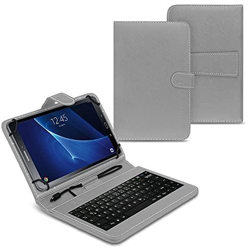 NAUC Funda para tablet compatible con Samsung Galaxy Tab A6 10.1 2016 T580 T585 con teclado USB, color gris